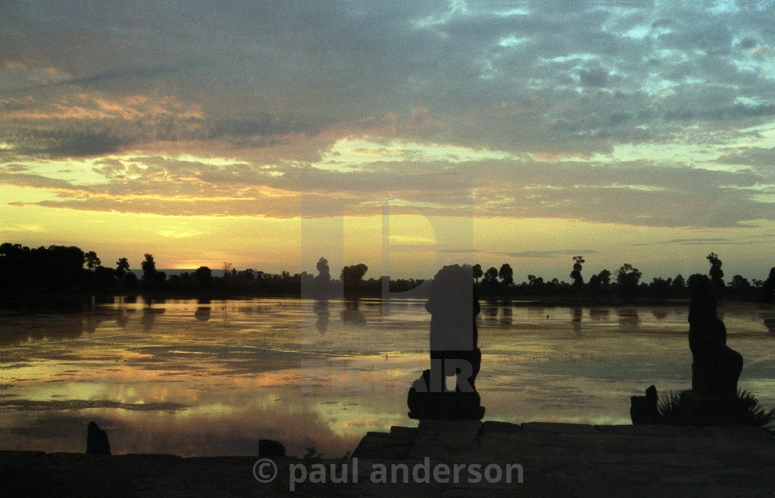 """Sunrise at Ankor Wat, Cambodia."" stock image"